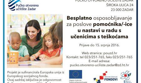 Javni poziv za prijavu kandidata za osposobljavanje za poslove pomoćnika/-ice u nastavi u radu s učenicima s teškoćama